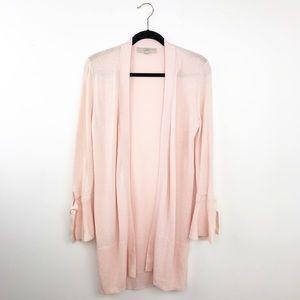 Loft light pink cardigan w/ tie sleeves